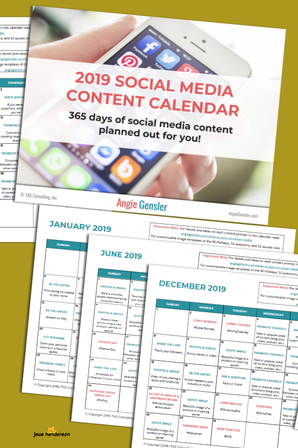 YES! A 2019 Social Media Content Calendar ...  365 days of social media post ideas planned out for you!